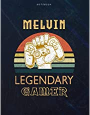 Notebook Melvin Name Gift Personalized Legendary Gamer Cover Lined Journal: Simple, Weekly, A4, 120 Pages, Planner, Book, 8.5 x 11 inch, Goal, Pretty, 21.59 x 27.94 cm