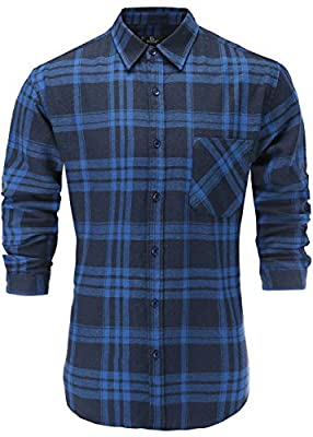Emiqude Men's Casual Flannel Cotton Stylish Slim Fit Long Sleeve Plaid Dress Shirt