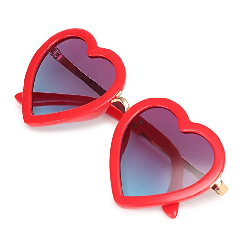 CMK Trendy Kids Trendy Heart Shaped Sunglasses for Toddler Girls Age 3-10 (62015_red)