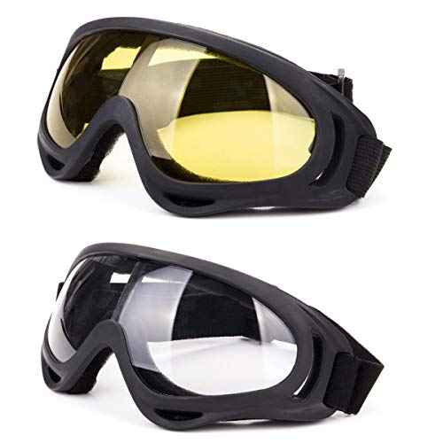 DODOING Ski Goggles, 2-Pack Snowboard Goggles UV 400 Protection Windproof Dustproof Skate Motorcycle Bicycle Glasses Kids, Boys & Girls, Youth, Men & Women