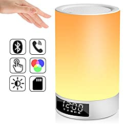Glimtek Touch Sensor Portable Dorm Table/Bedside Lamp with Bluetooth Speaker, Alarm Clock, Wake Up Light, Cordless Color Changing Light for Bedroom, Home Decor, Party, Camping, Battery Powered USB