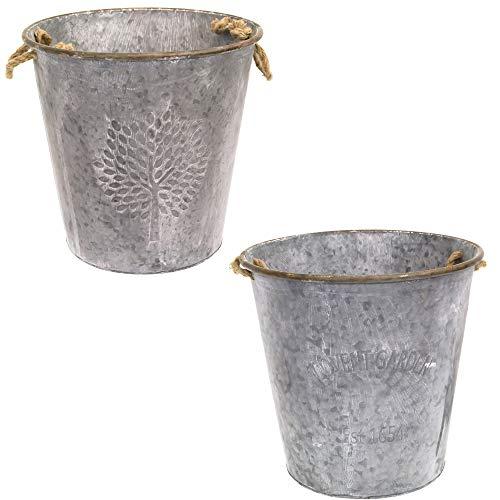 east2eden Covent Garden Mulberry Tree 41cm Round Zinc Metal Tin Plant Flower Planter Pot (Set of 2)