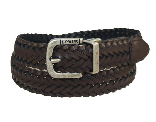 Levi's Men's LeviS Reversible Black To Brown Braid With Logo Buckle,Black/Brown,Medium/26-28 Inches