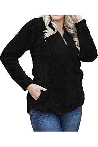 Avec Manches Noir Furry Woman Sweatshirt À Poches Longues Sweat Zilcremo nHq4Ugw
