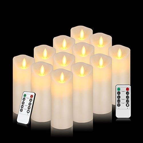 YO-YO MALL Flameless Candle Battery Powered 12 Real Wax Pillar LED Candles with Real Wax PillarFlickering LED Candles with 10-Key