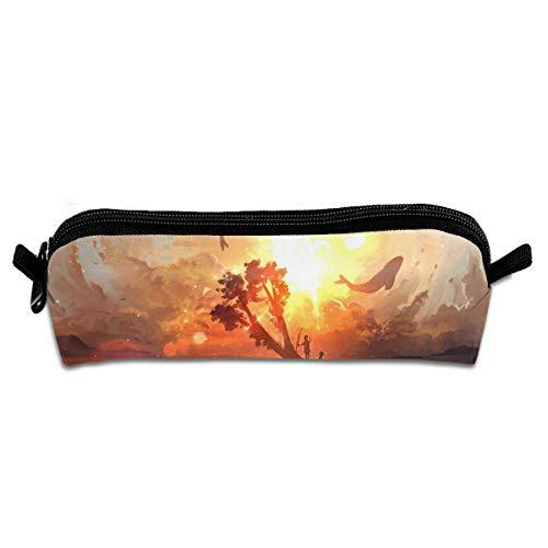 (Diemeouk Pencil Case Sunset Fish Zippered Pen Bag Cosmetic Makeup Bags for Colored Watercolor Pencils)