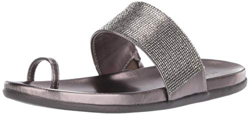 Slim Track - Kenneth Cole REACTION Women's Slim Tracks 2 Toe Loop Flat Sandal, Pewter, 8.5 M US