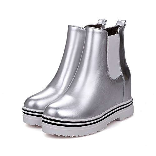 Allhqfashion Women's Soft Material Pull-On Round Closed Toe High-Heels Low-Top Boots Silver GkX51uN