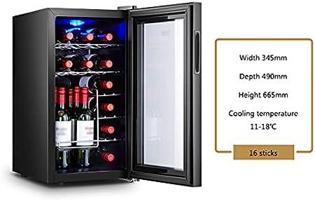 SHENXINCI Vinoteca de 16/12/18 Botellas,Luz LED, Display Digital, 3 Estantes, Doble Aislamiento,Control de Temperatura: 11-18 ° C,Mini Vitrina Pequeña de Temperatura Constante