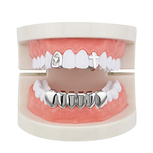 JUNword Personality Hip Hop Teeth Single Heart Cross Street Single Bottom Glossy Platinum Gold Braces Smile Perfect Accessories Glamour Unisex,Silver