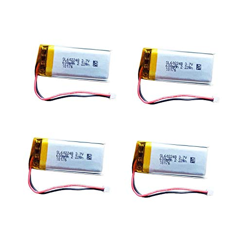 AOLIKES 3.7V Replacement Battery 600mAh SL 602248 [4 Pack] for Bluetooth Speaker Headset Sena SMH10 Headphone, MP3, MP4, GPS,Small Camera,Video Game Toys and - Battery Mp3 Replacement