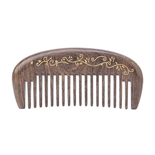 Monster Lock Master Pin - Wooden Natural Sandalwood Handmade Wide Tooth Comb Massage Comb Hair Care (Style - B)
