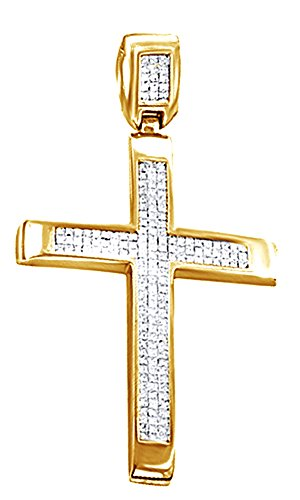 3.69 Ct Round Cut White CZ Hip Hop Cross Pendant In 14K Gold Over Sterling Silver by Wishrocks