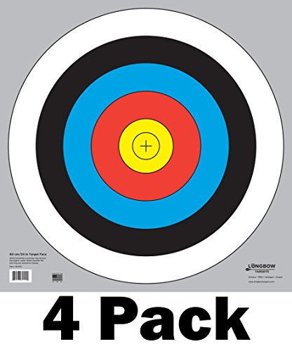 60 cm / 24 in Bullseye Archery and Gun Targets by Longbow Targets (4 - Bullseye Bow