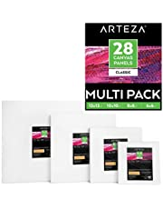 Arteza Canvas Boards for Painting, Multipack of 28, 6 x 6, 8 x 8, 10 x 10, 12 x 12 Inches, Square Blank Canvas Panels, 100% Cotton, 8 oz Gesso-Primed, Art Supplies for Acrylic Pouring and Oil Painting