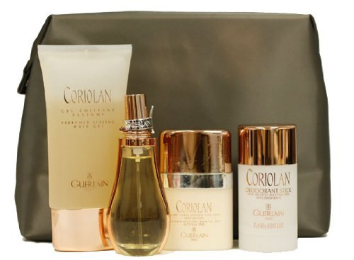 Perspirant Free Gel Alcohol Anti - Coriolan By Guerlain For Men. Gift Set  ( Eau De Toilette Spray 1.7 Oz / 50 Ml + Alcohol Free Anti-Perspirant Deodorant Stick 2.8 Oz + All Over Soothing Aftershave Balm 2.5 Oz + Perfumed Hair Styling Gel 5.1 Oz + Deluxe Toiletry Kit )