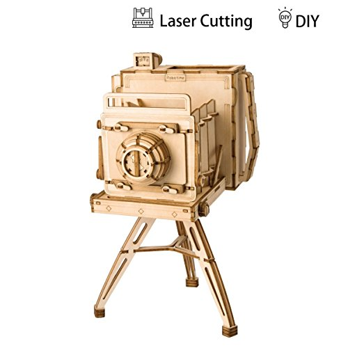 Rolife 3D Vintage Camera Wooden Jigsaws Kit Wooden Puzzles DIY Hand Craft Mechanical Toy Gift for Kids Teens Adults