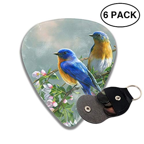 Animal BlueBirds Celluloid Guitar Picks 3 D Print Cool 6-Pack 0.46mm 0.73mm And 0.96mm