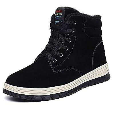 Amazon.com | FiveStoresCity Men Snow Boots Winter Leather