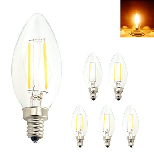 Bonlux 5-Pack E12 Candelabra Base LED Filament Light Bulb, C35 Torpedo Shape Candelabra Lamp, 2W(25W Incandescent Replacement) - Warm White 2700K, Non-Dimmable ()