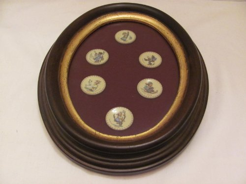"Vintage - GOEBEL - HUMMEL Miniature Annual Collector PLATES (approx. 1"" in Diameter) / (1971-76) in an Oval Wooden FRAME (approx. 8 3/4"" x 6 3/4"")"