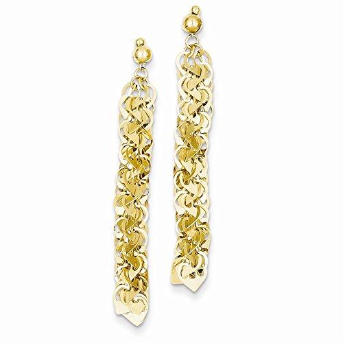 Flat Open Heart Earring (14k Yellow Gold Linked Flat Open Hearts Dangle)