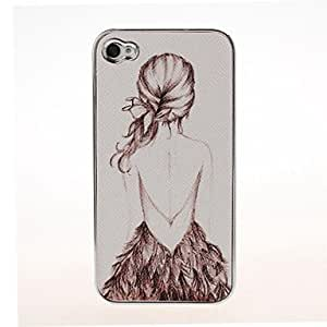 JAJAY- Fashion Backless Girl Pattern Plating Pasting Skin Case for iPhone 4/4S