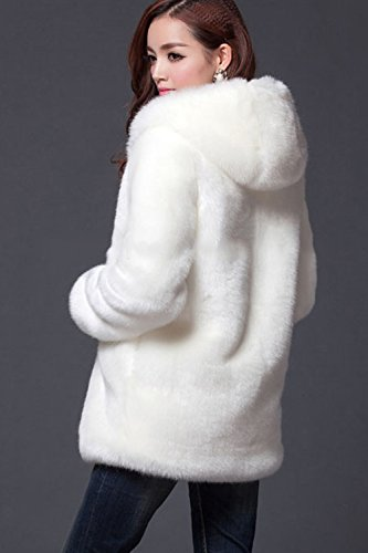 blanco Peluda Faux Warm Hoodie Winter Jacket Casual Fur La Outcoat Mujer Zip wxqvHO1P