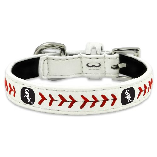 MLB Chicago White Sox Classic Leather Baseball Dog Collar (Large)
