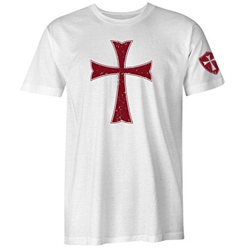 Fantastic Tees Knights Templar Crusader Cross Men's T Shirt (White, M) - Knight Men T-shirt