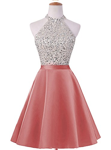 ed Keyhole Back Homecoming Dresses Beaded Prom Gowns Short H198 0 Coral ()