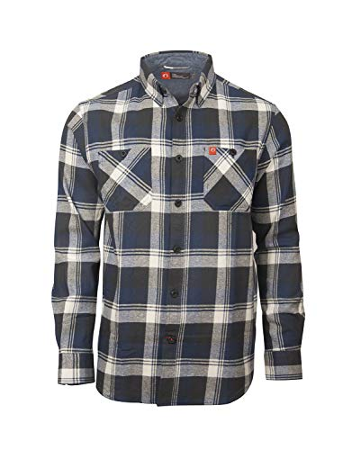 (American Outdoorsman Long Sleeve Y/D Cotton Flannel Shirt for Men with Bias Pockets (X-Large, Blue Grey White))