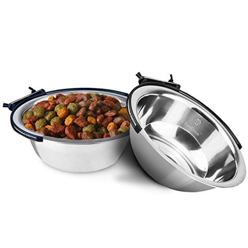 SunGrow 2 Stainless Steel Bowl for Pets Easily attaches to cage; Perfect for Cats and Dogs; Simple Removal; Reduce Water and Food Spills; 30 oz/20 oz