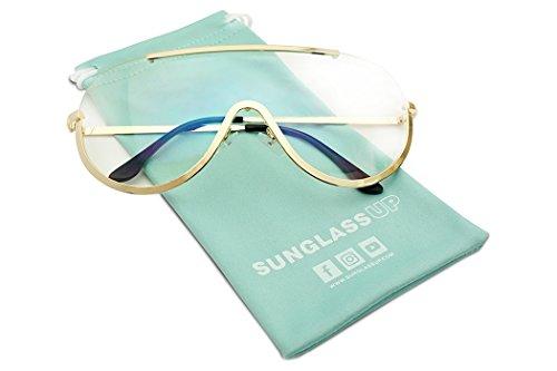 Women's XL Oversized Semi-Rimless Modern Mask Shield Clear Lens Glasses (Gold, - Sunglasses Gold Australian