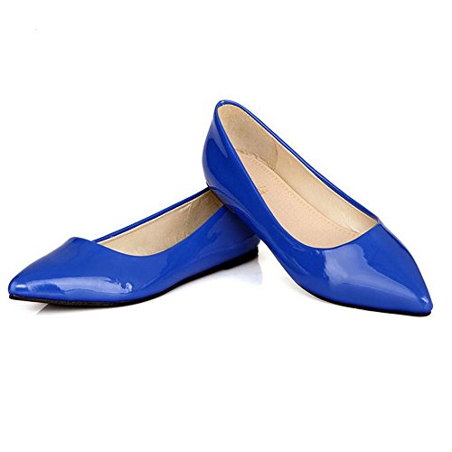 LongFengMa Women Casual Flat Shoes Fashion Lady Sweet Candy Colors Pointed Toe Loafers Blue DuZj4t9q5h