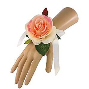 Wrist Corsage(XLWC001-RSPK) with pearl wristband-artificial roses hydrangea (Peach-Pink) 69