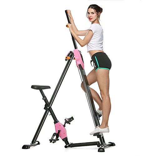 ANCHEER Vertical Climber for Home Gym Fitness,Folding Versa Climbing Exercise Machine,Cardio Workout Machine Stair Stepper,Compact Stair Climber,Adjustable Height with LCD Display. (Pink)