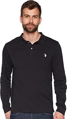Straight Bottom Polo Top - U.S. Polo Assn. Men's Long Sleeve Solid Small Pony Interlock Polo Shirt Black X-Large