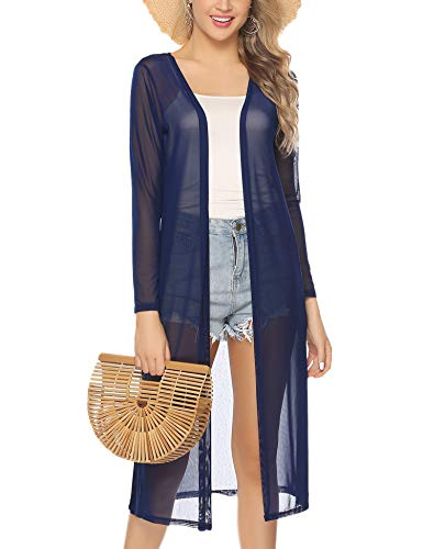 Abollria Open Front Long Trench Coat Cardigan Navy Blue