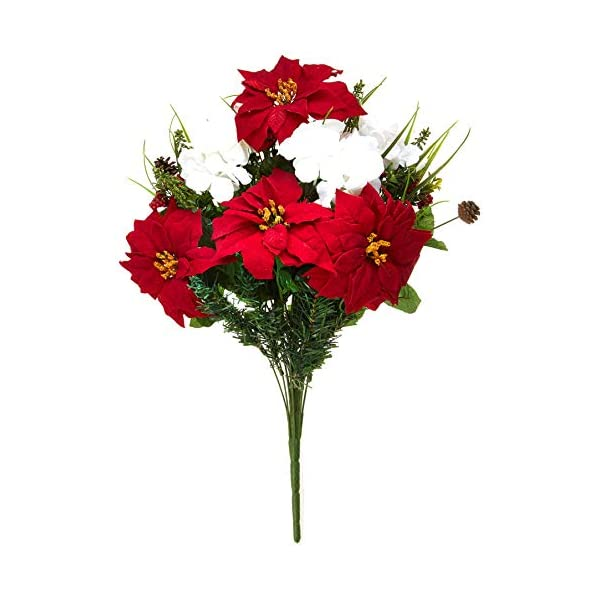 Admired By Nature Flowers Bush Home, Office, Hotel and Seasonal Events Arrangement Decoration, Red/Cream GPB5803-RD/CM 24 Stems Faux Poinsettia Hydrangea, Piece