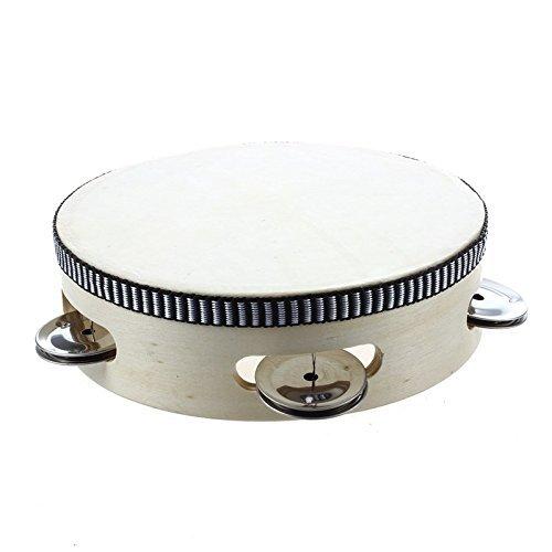 "TOOGOO(R) Tambourin tambour en bois leger avec cuir 6"" 15cm"