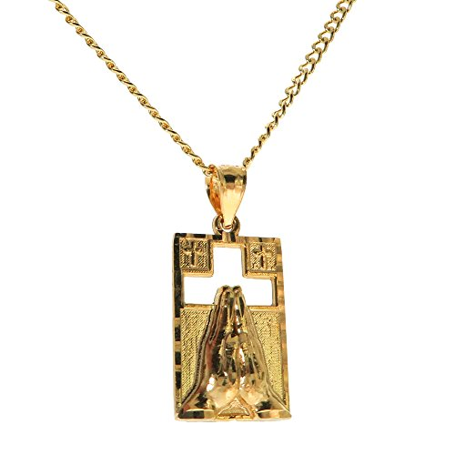 Genuine Stamped 10K Yellow Gold Cuban Curb Link Chain Small Charm Pendant Necklace [Assorted Sets] (Praying Hands Worship + 20 Inches Necklace)