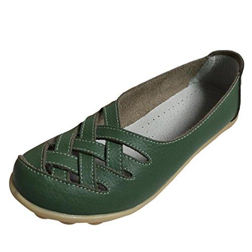 Heheja Mujer Mocasines de Cuero Hueco Loafers Casual Zapatos de Conducción Ejercito Verde