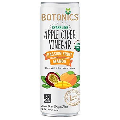 Botonics Sparkling Organic Apple Cider Vinegar Tonic, Passion Fruit Mango, 12 Ounce (Pack of 12)