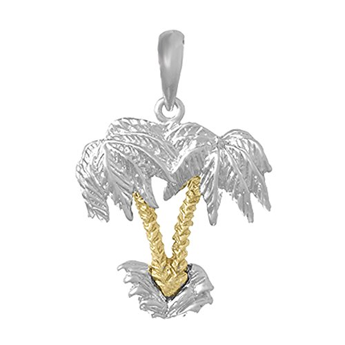 925 Sterling Silver Nautical Charm Pendant, Double Palm Trees with14k Gold Trunks 2-D