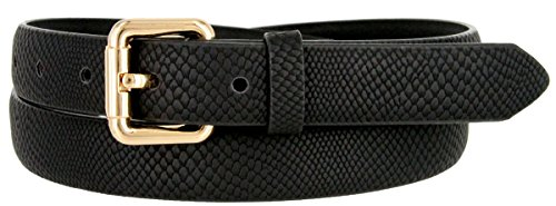 skin Embossed Leather Casual Dress Fashion Belt (Black, Medium) (Skinny Snakeskin Belt)