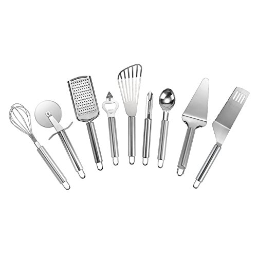WarmHut 9-Piece Stainless Steel Kitchen Gadget Tools Set, Grater, Pizza Cutter, Can Opener, Pie Server, Ice Cream Scoop, Spatula, Peeler, Whisk, Serrated Knife