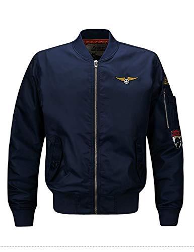 Mens Aviator Bomber - Yeokou Men's Casual Stand Collar Short Zipper Flight Pilot Aviator Bomber Jacket (XX-Large, Blue)