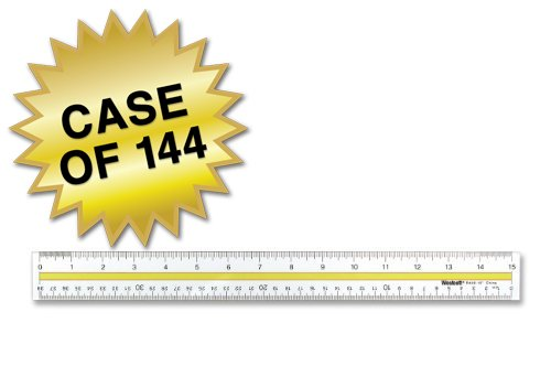 Westcott Acrylic Data Highlight Reading Ruler With Tinted Guide, 15'' Clear, Case of 144