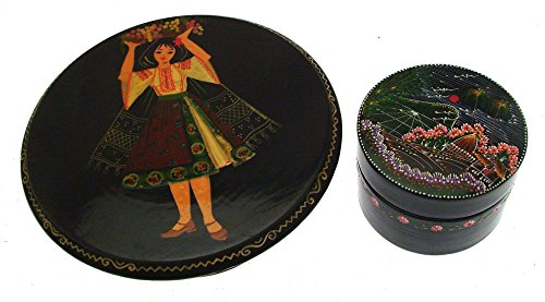Wood Pair Black Lacquer Lidded Boxes Bucharest ()